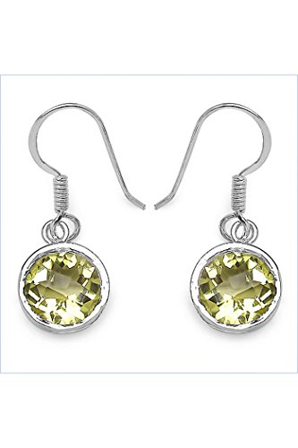 Silvancé - Women's Earrings - 925 Sterling Silver - Genuine Gemstone: Lemon (Lemon Quartz Earrings)