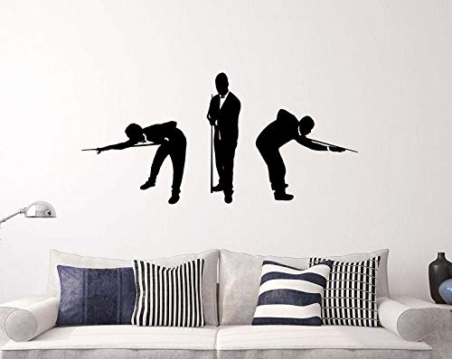 CECILIAPATER Billiards Players Wall Decal Silhouettes Men in Suits Vinyl Sticker Removable Home Interior Art Decor (45nr)