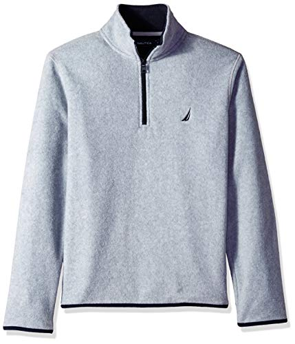Nautica Men's Polar Fleece 1/4 Zip Back Neck Logo Sweatshirt, Grey Heather Medium (Real Sweatshirt Logo)