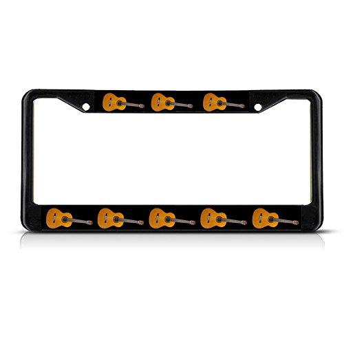 Guitar Musical Instrument METAL Black License Plate Frame Tag Holder