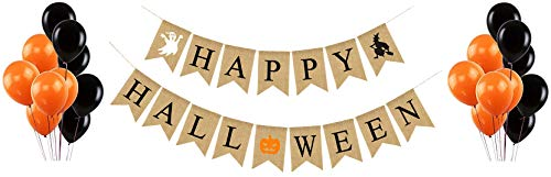 Happy Halloween Party Burlap Banner - Assembled Garland with Latex Balloons - Orange & Black Decor Decorations - Home School Office Porch Wall - by Jolly -