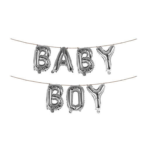 Silver Baby Boy Banner 16 Inch Foil Letter Balloons Garland for Elegant Birthday Baby Shower Party -