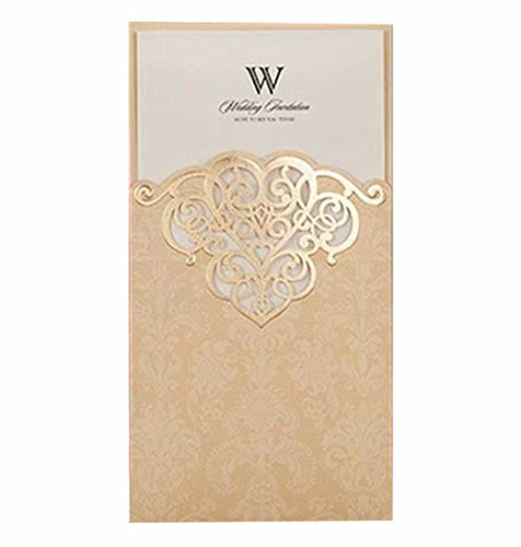 Vintage Birthday Invitations (Laser Cut Vintage Elegant Pocket Wedding Invitations Cards Gold Set for Marriage Birthday Bridal Shower Heart with Envelopes Seals(15Pcs ))
