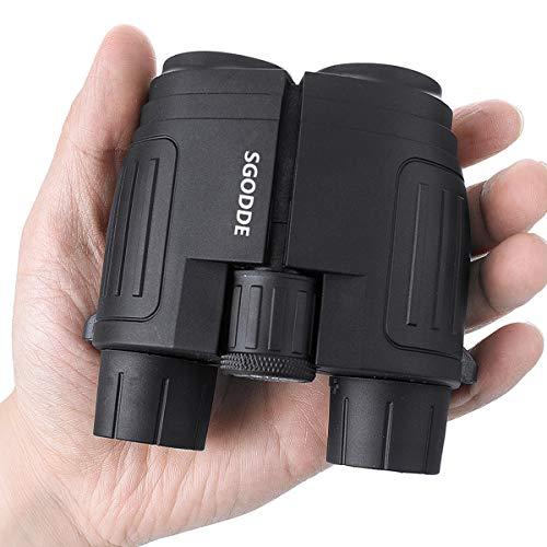 SGODDE 10x25 Compact Binoculars, High Powered Binoculars with Low Light Night Vision Folding Lightweight Binoculars for Adults Kids for Bird-Watching Travelling Hunting Concerts