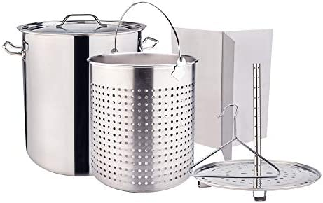 ARC 84QT 21 Gallon ALL IN ONE Function Stainless Steel Stockpot Crawfish Boil Pot Tamale Steamer Seafood Pot Lobster Pot Turkey Pot with Basket Divider and Hook