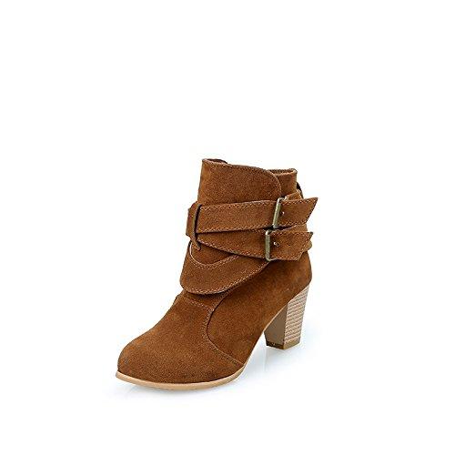 botones mujer Donyyyy botas patios botas hebilla Thirty esmerilado nine de del grandes invierno cortas cinturones cinturón botas otoño y 8HOPn8r