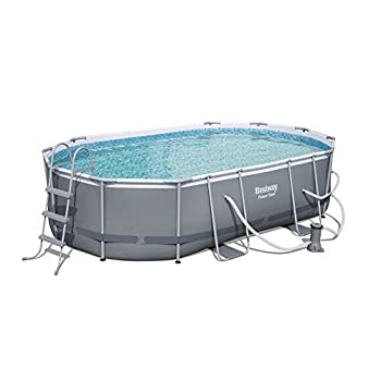 """Power Steel 16 x 10 x 42"""" Oval Frame Swimming Pool Set with Filter Pump, Ground Cloth, Pool Cover and Ladder"""