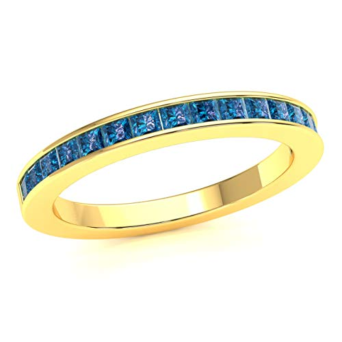 JewelWeSell 10K Yellow Gold Wedding Band Ring For Women 0.7 Cttw Natural Blue Diamond (SI2-I1 Clarity) Princess Cut Bridal Channel Set Size 7 ()