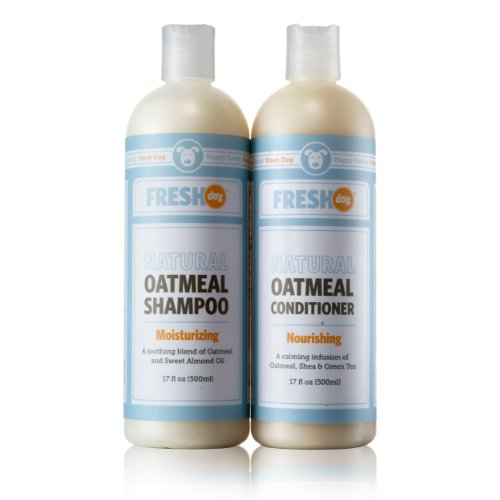 Fresh Dog Oatmeal Shampoo & Conditioner Set - Dry Itchy Skin Coat Grooming Product Set for Dogs, Puppies, Cats - Natural Colloidal Oatmeal, Sweet Almond Oil, Coconut, Echinacea, Shea, Green Tea, Vitam by Fresh Dog