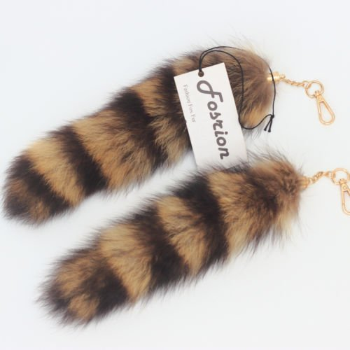 2 pcs 10inches Authentic Raccoon Tail Fur Skin