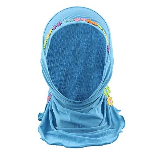 Hats Cap Child Muslim Stretch Turban Hat Chemo Cap Hair Head Scarf Headwrap Shower Cap Sky Blue
