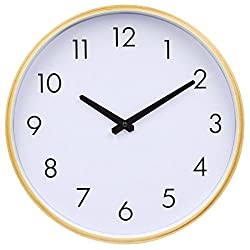 Hippih Silent Wall Clock Wood 12 Inches Non Ticking Digital Quiet Sweep Decorative Vintage Wooden Clocks with Glass Cover(white)