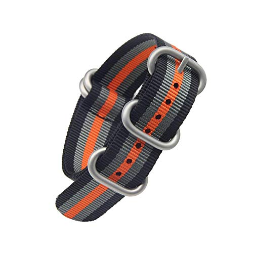 Black/Grey/Orange High-end Superior NATO Style Ballistic Nylon Watch Band Strap Replacement for Men (20 mm, ()
