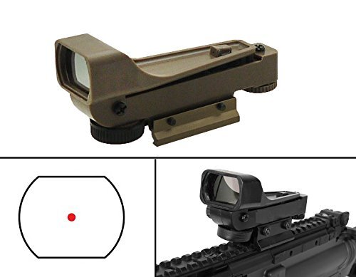 Ultimate Arms Gear Polymer Reticle Red Dot Open Tubeless Reflex Scope Sight Weaver-Picatinny & Dovetail Mount Adapter Rail, FDE Tan for Paintball Gun Tippman 98 Custom, Phenom, TCR, X7 & A5 (Custom Sight Rail)