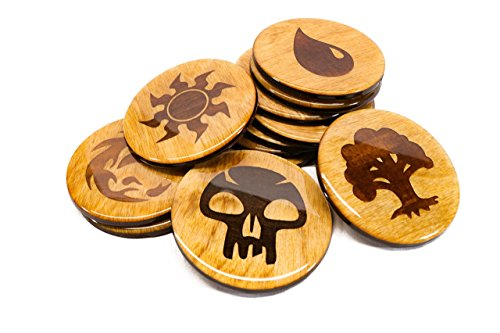 "PREMIUM Magic Coaster Set of Five - (5) Magic: The Gathering Coasters - High Gloss 3.5"" Wooden Coaster Gift Sets"