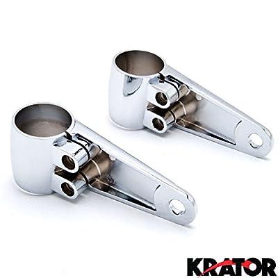 Krator Chrome Universal Headlight Fork Mounting Brackets Fits 35mm 39mm 41mm Forks Headlight Fork Mounting Brackets 35/39/41mm Forks