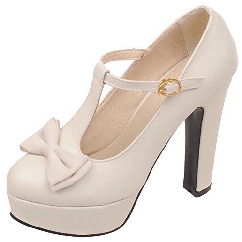 AIYOUMEI Damen T-Spangen Pumps mit Schleife und Plateau High Heels Abend Süß Schuhe Beige