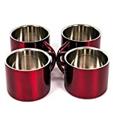 Red Stainless Steel Double Wall Espresso Cups, Small, Set of 4