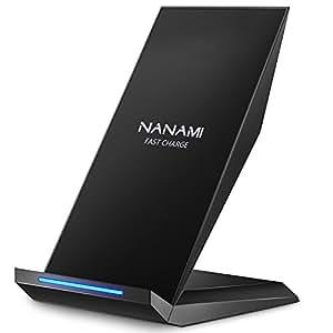 NANAMI Cargador Inalámbrico Rápido, Qi Inalámbrica Carga Rápida 10W y Estándar 5W para iPhone 11/11 Pro/XS/XS MAX/XR/ X/ 8 Plus/ 8,Wireless Quick ...