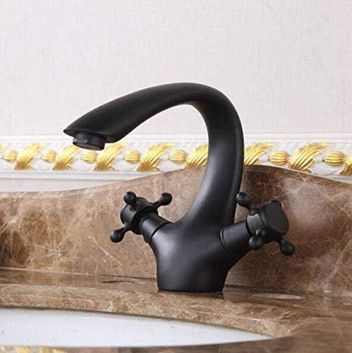 CLJ-LJ 美しく、耐久性のある流域ミキサータップ浴室のシンクタップミキサー洗うシンクの蛇口アンティーク1ホールブラス滝の浴室のミキサータップブラック(色:ブラック)