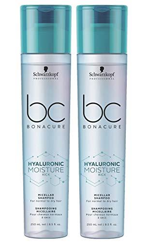 2er Hyaluronic Moisture Kick Shampoo Bonacure Schwarzkopf Professional Micellar für normales und trockenes Haar je 250 ml = 500 ml