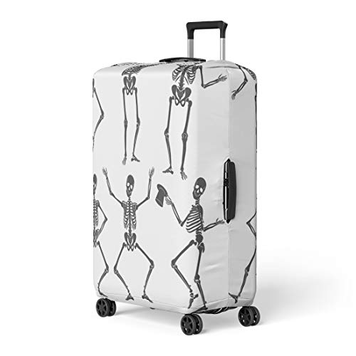 Semtomn Luggage Cover Human Dancing Skeletons Different Poses Scary Funny Party People Travel Suitcase Cover Protector Baggage Case Fits 22-24 Inch]()