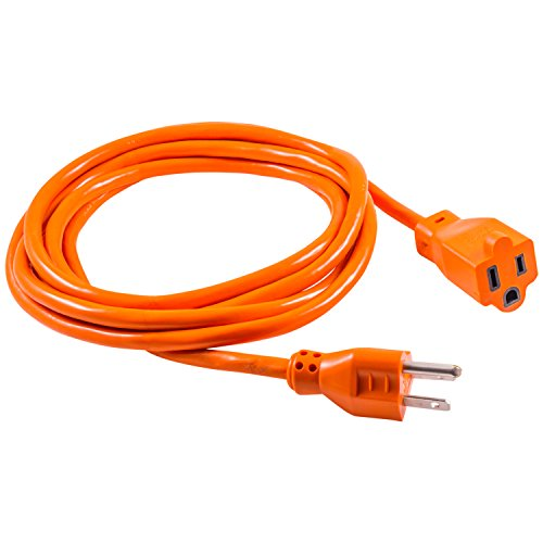 - GE 9 Ft Extension Cord, 3 Outlet Power Strip, 2 Prong, 16 Gauge, Twist-to-Close Safety Outlet Covers, Indoor Rated, Perfect for Home, Office or Kitchen, UL Listed, Orange, 51927