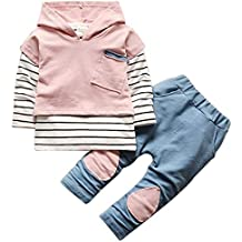 3Pcs Set Kids Baby Boys Girls Clothing Set Striped Hoodie Sweatshirt Vest Tops+T Shirt+ Pants Outfits
