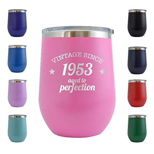 1953 65th Birthday Gifts For Women And Men 12 Oz Wine Glass Tumbler Cup Funny