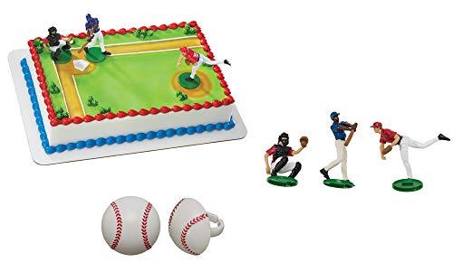 Batter Up Cake Topper & 12 Pack Baseball Cupcake - Baseball Cake Decorations