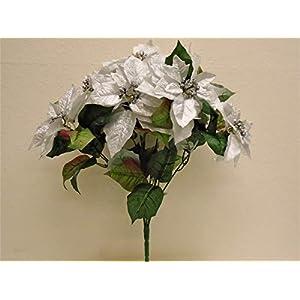 JumpingLight Silver Christmas Poinsettia Bush Artificial Silk Flowers 23'' Bouquet 7-8801 SL Artificial Flowers Wedding Party Centerpieces Arrangements Bouquets Supplies 91