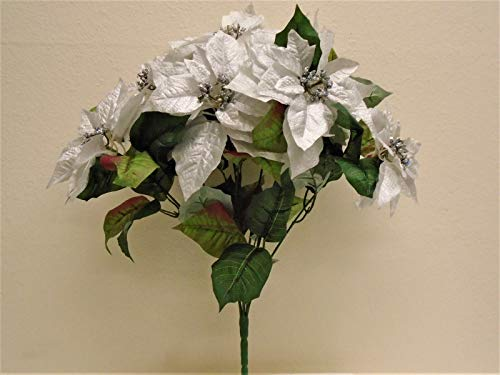 JumpingLight Silver Christmas Poinsettia Bush Artificial Silk Flowers 23