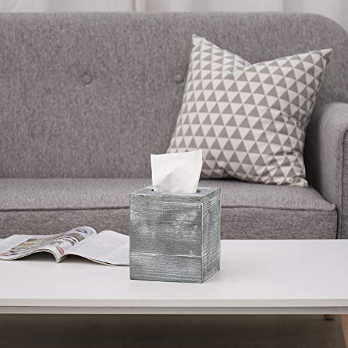 MyGift Vintage White Wood Square Tissue Box Cover