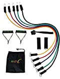 NiceC Resistance Bands Set – 5 Exercise Bands; Carrying Bag, Door Anchor, 2 Ankle Straps, 2 Cushion Handle, Instruction Book
