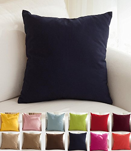 "TangDepot Cotton Solid Throw Pillow Covers, 18"" x 18"" , Dark"