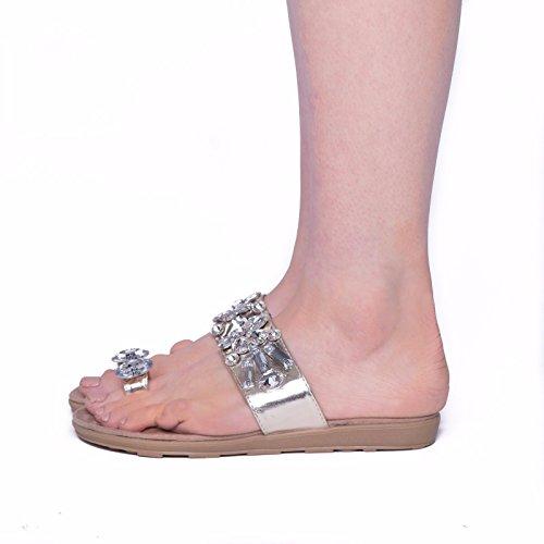 SnobUK - sandalias de fiesta mujer dorado