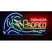 Urby™ Cerveza Pacifico Surfer Real Glass Neon Light Sign Home Beer Bar Pub Recreation Room Game Room Windows Garage Wall Sign 24''x20'' CP10