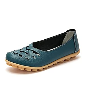 KEESKY Women's Leather Casual Cut out Loafers Flat Slip-on Shoes