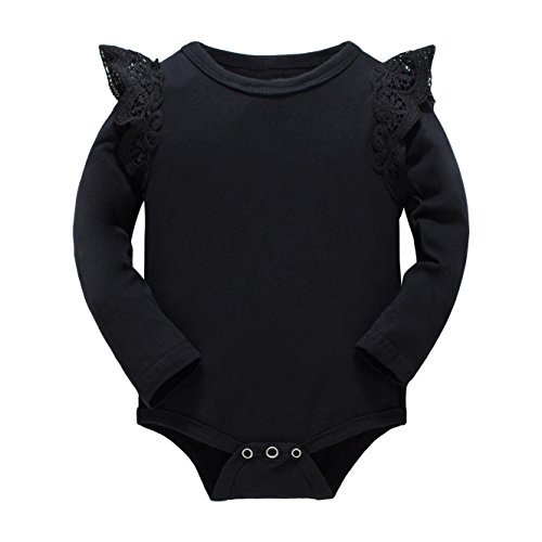 Huata Baby Girls Boys Long Sleeve Onesies Bodysuit Baby Romper (Black, 18-24 Months)