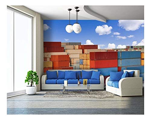(wall26 - Stacks of Colorful Cargo Containers - Removable Wall Mural | Self-Adhesive Large Wallpaper - 100x144 inches)