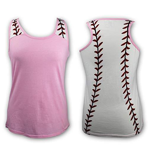 KNITPOPSHOP Baseball Tank Top for Mom Fans T Shirt Apparel Tshirt Gifts Team (Pink, X-Large)