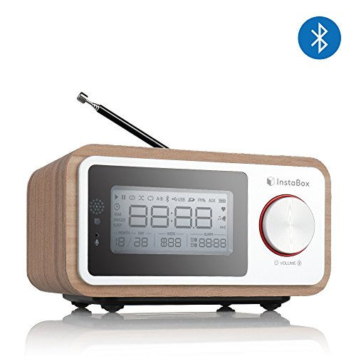 InstaBox i30 Wooden Clock Radio, Portable Retro Bluetooth Speaker, Digital FM Radio Multi-Functional MP3 Player, Supports Micro SD/TF Card and USB with Remote Control, Heavy Bass with Dual Subwoofers -