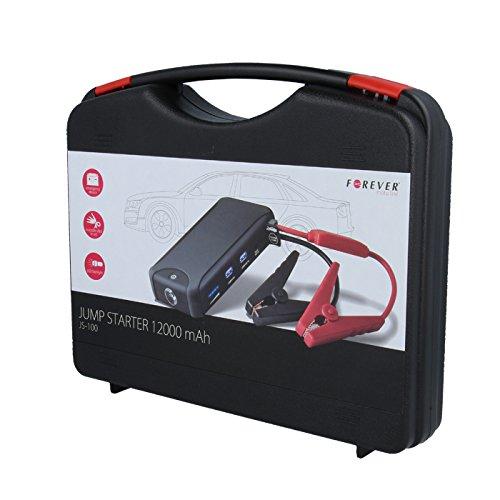 Forever Jump Starter 12000 mAh Tragbare Auto Starthilfe Externer Akku Powerbank KFZ LED Taschenlampe Dual USB