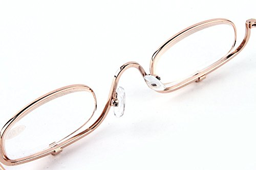 SOOLALA Womens Metal Frame Clip On Makeup Reading Glasses Magnifying Glass Best Gifts for Mother's Day, +4.0D