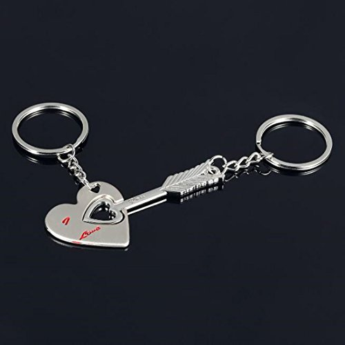 BR Cupid's Arrow & Heart Keychains Key Chain Fob Holder Ring (Set of 2) for Couples Lovers Friendship