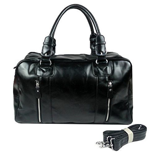 Genda 2Archer Black Genuine Leather Overnight Travel On Duffle Weekend Bag by Genda 2Archer