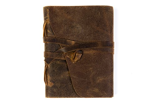 Hiberno Handmade Leather Writing Journal and Notebook, 240 Pages, 7x5