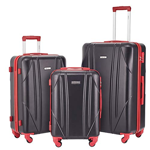 Newtour Luggage Sets 3 Pieces Suitcase with Spinner Wheels Hardshell Lightweight luggage Travel 20in 24in 28in (Black & Red)
