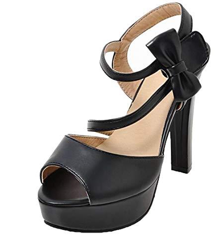 AgooLar Velcro Nero Tacco Luccichio Sandali Puro Donna GMMLB010505 Alto wrFpSwq