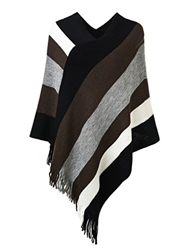 Ferand Women's Elegant Knitted Poncho Top with Stripe Patterns and Fringed Sides, Brown & Grey (Poncho Looking Sweaters)